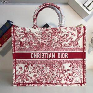 Replica Dior M1286 Book Tote 42mm Bag in Red Flowers Embroidered canvas