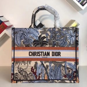 Replica Dior M1286 Book Tote 42mm Bag in Embroidered canvas With Blue Leaf