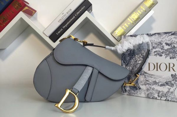 Replica Dior M0446 Saddle bag in Blue embossed Grained calfskin Leather