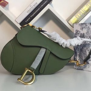 Replica Dior M0446 Saddle bag in Green embossed Grained calfskin Leather