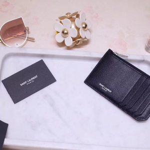 Replica Saint Laurent YSL 346104 Card Case Black Calf Leather