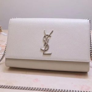 Replica Saint Laurent YSL 354021 Kate Tassel Chain Bag White Calf Leather