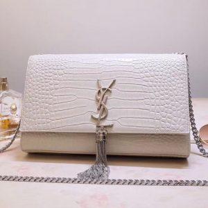 Replica Saint Laurent YSL 354119 Medium Kate Tassel Chain Bag White Crocodile Embossed Leather