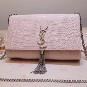 Replica Saint Laurent YSL 354119 Medium Kate Tassel Chain Bag Pink Crocodile Embossed Leather