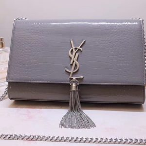 Replica Saint Laurent YSL 354119 Medium Kate Tassel Chain Bag Gray Crocodile Embossed Leather