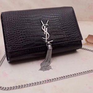 Replica Saint Laurent YSL 354119 Medium Kate Tassel Chain Bag Black Crocodile Embossed Leather