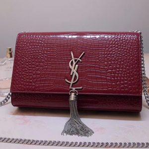 Replica Saint Laurent YSL 354119 Medium Kate Tassel Chain Bag Wine Crocodile Embossed Leather