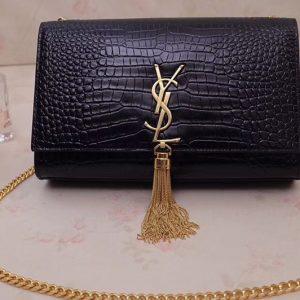 Replica Saint Laurent YSL 354119 Medium Kate Tassel Chain Bag Black Crocodile Embossed Leather Gold Hardware