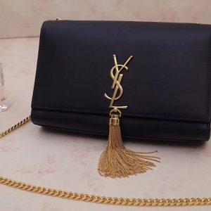 Replica Saint Laurent YSL 354119 Medium Kate Tassel Chain Bag Black Smooth Leather