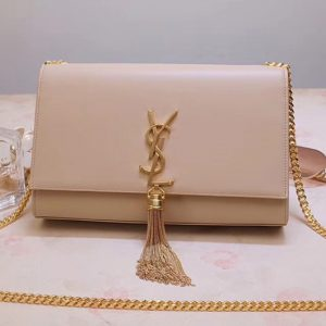 Replica Saint Laurent YSL 354119 Medium Kate Tassel Chain Bag Beige Smooth Leather