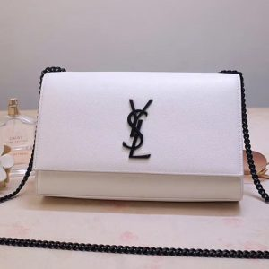 Replica Saint Laurent YSL 354119 Medium Kate Tassel Chain Bag White Smooth Leather