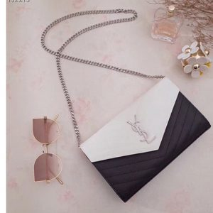 Replica Saint Laurent YSL 377828 Monogram Chain Wallet Bags In Black/White Grain De Poudre Embossed Leather