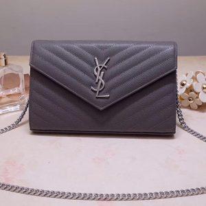 Replica Saint Laurent YSL 377828 Monogram Chain Wallet Bags In Gray Grain De Poudre Embossed Leather