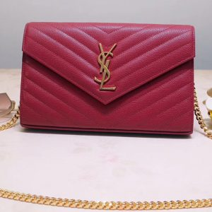 Replica Saint Laurent YSL 377828 Monogram Chain Wallet Bags In Red Grain De Poudre Embossed Leather