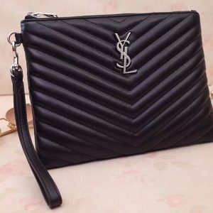 Replica Saint Laurent YSL 379039 Monogram A5 Pouch Bags In Black Matelasse Leather
