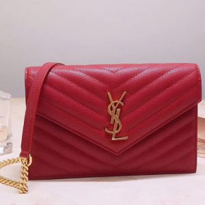 Replica Saint Laurent YSL 393953 Envelope Chain Wallet Bags In Red Grain De Poudre Embossed Leather
