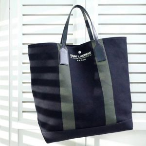 Replica Saint Laurent YSL 413055 Beach Shopping East/West Tote Bag In Black and Green Canvas
