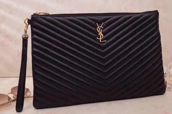 Replica Saint Laurent YSL 440222 Monogram document holder Bags in Black matelasse leather Gold Hardware