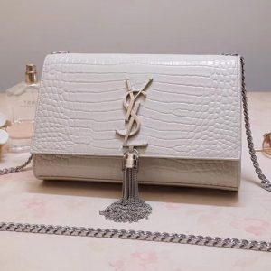 Replica Saint Laurent 474366 Kate Small With Tassel Bags In White Embossed Crocodile Shiny Leather