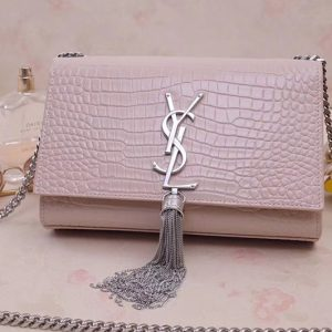 Replica Saint Laurent 474366 Kate Small With Tassel Bags In Pink Embossed Crocodile Shiny Leather Silver Hardware