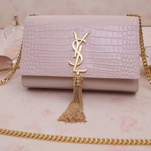 Replica Saint Laurent 474366 Kate Small With Tassel Bags In Pink Embossed Crocodile Shiny Leather Gold Hardware