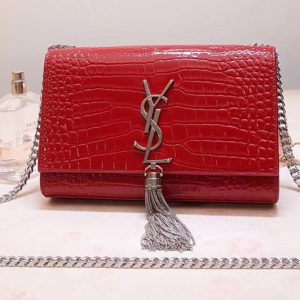 Replica Saint Laurent 474366 Kate Small With Tassel Bags In Red Embossed Crocodile Shiny Leather