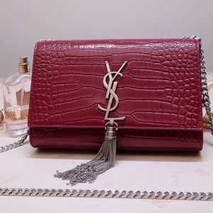 Replica Saint Laurent 474366 Kate Small With Tassel Bags In Bordeaux Embossed Crocodile Shiny Leather