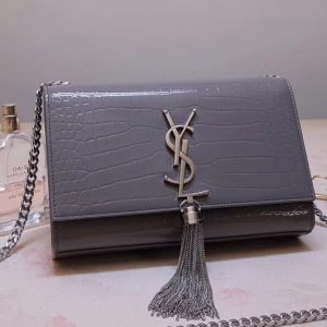 Replica Saint Laurent 474366 Kate Small With Tassel Bags In Gray Embossed Crocodile Shiny Leather