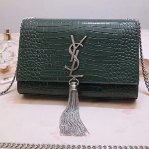 Replica Saint Laurent 474366 Kate Small With Tassel Bags In Green Embossed Crocodile Shiny Leather