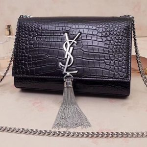 Replica Saint Laurent 474366 Kate Small With Tassel Bags In Black Embossed Crocodile Shiny Leather Silver Hardware