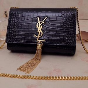 Replica Saint Laurent 474366 Kate Small With Tassel Bags In Black Embossed Crocodile Shiny Leather Gold Hardware
