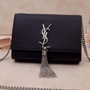 Replica Saint Laurent 474366 Kate Small With Tassel Bags In Black Smooth Leather Silver Hardware