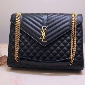 Replica Saint Laurent YSL 487198 Envelope Large Bag In Black Mix Matelasse Grain De Poudre Embossed Leather Gold Hardware