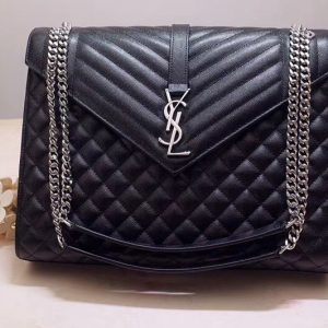 Replica Saint Laurent YSL 487198 Envelope Large Bag In Black Mix Matelasse Grain De Poudre Embossed Leather Silver Hardware