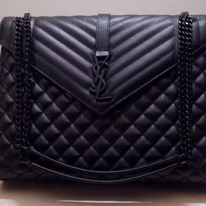 Replica Saint Laurent YSL 487198 Envelope Large Bag In Black Mix Matelasse Grain De Poudre Embossed Leather Black Hardware