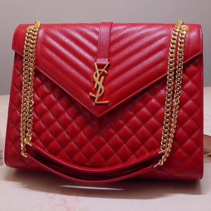Replica Saint Laurent YSL 487198 Envelope Large Bag In Red Mix Matelasse Grain De Poudre Embossed Leather
