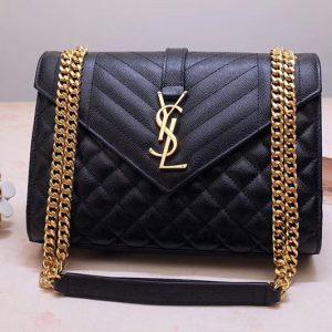 eplica Saint Laurent YSL 487206 Envelope Medium Bag In Black Mix Matelasse Grain De Poudre Embossed Leather Gold Hardware