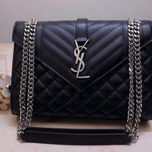 Replica Saint Laurent YSL 487206 Envelope Medium Bag In Black Mix Matelasse Grain De Poudre Embossed Leather Silver Hardware