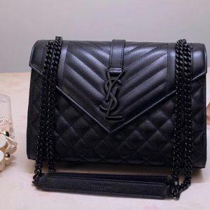 Replica Saint Laurent YSL 487206 Envelope Medium Bag In Black Mix Matelasse Grain De Poudre Embossed Leather Black Hardware