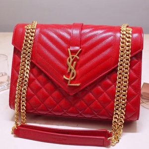 Replica Saint Laurent YSL 487206 Envelope Medium Bag In Red Mix Matelasse Grain De Poudre Embossed Leather