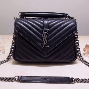 Replica Saint Laurent YSL 487213 College Medium Bags In Black Matelasse Leather