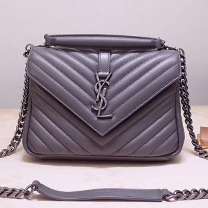 Replica Saint Laurent YSL 487213 College Medium Bags In Gray Matelasse Leather