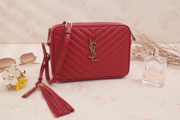 Replica Saint Laurent YSL 520534 LOU Camera Bag In Red Matelasse Leather