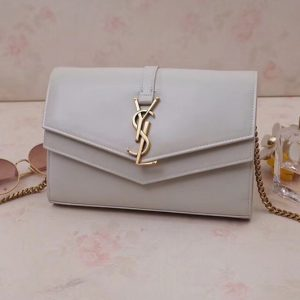 Replica Saint Laurent YSL 554763 Sulpice Chain Wallet In White Smooth Leather