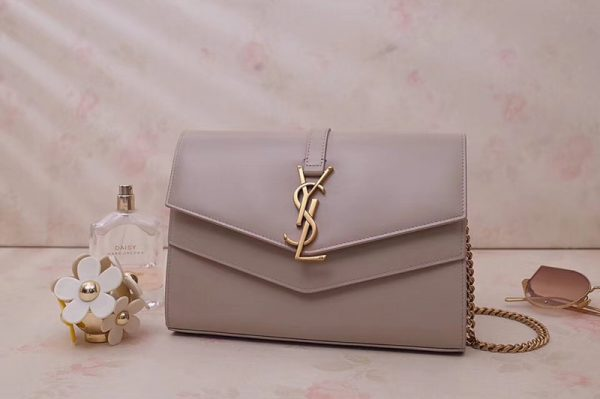 Replica Saint Laurent YSL 554763 Sulpice Chain Wallet In Pink Smooth Leather