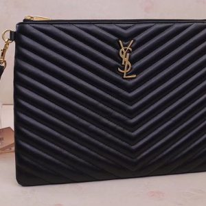 Replica Saint Laurent YSL 559193 Monogram Tablet Pouch In Black Matelasse Leather Gold Hardware