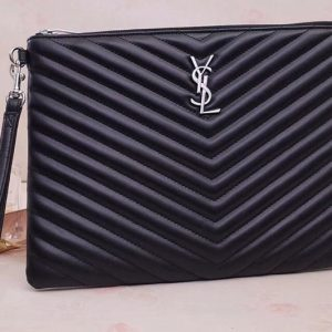 Replica Saint Laurent YSL 559193 Monogram Tablet Pouch In Black Matelasse Leather Silver Hardware