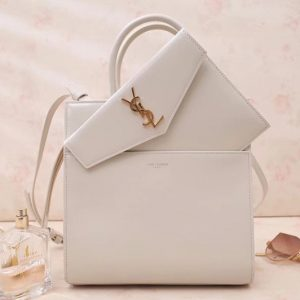 Replica Saint Laurent YSL 561203 UPTOWN Small tote Bags White Shiny Smooth Leather