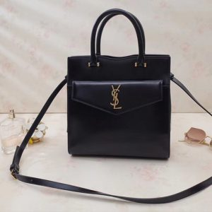Replica Saint Laurent YSL 561203 UPTOWN Small tote Bags Black Shiny Smooth Leather