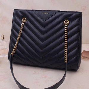 Replica Saint Laurent YSL 568865 Tribeca Small Shopping Bag In Black Grain De Poudre Embossed Leather